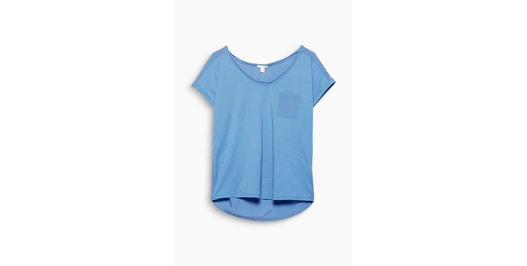 Heißen Verkauf Günstig Online ESPRIT Zartes Material-Mix-Shirt mit Brusttasche Niedriger Preis Versandgebühr Anzuzeigen Günstigen Preis SeF7on8Ga