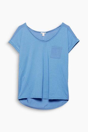 ESPRIT Zartes Material-Mix-Shirt mit Brusttasche