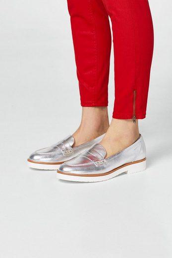 ESPRIT Leder-Loafer im Metallic-Look
