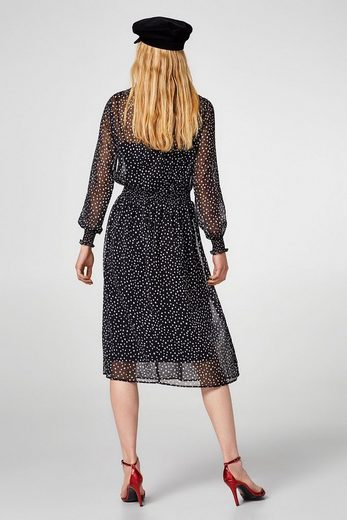 Esprit Chiffon Dress With Polka Dots And Smok-effects