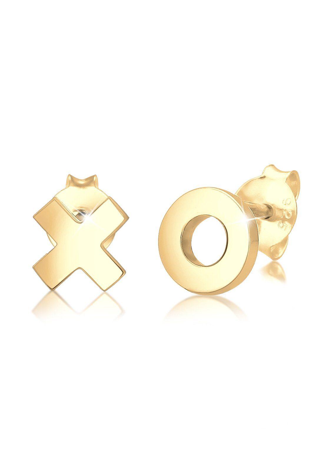 Elli Ohrringe »XOXO Wording Trend Cool 925 Silber vergoldet Figa«