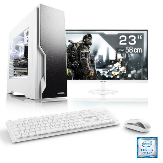 "CSL Gaming PC Set | Core i7-7700 | GTX 1050 Ti | 16 GB RAM | 23"" TFT »Speed T7761 Windows 10 Home«"
