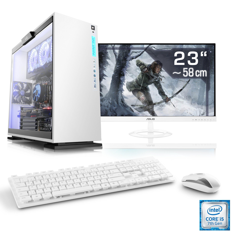 "CSL Gaming PC Set i5-7400 | GeForce GTX 1050 Ti | 8 GB RAM | 23"" TFT »Speed T5964 Windows 10 Home«"