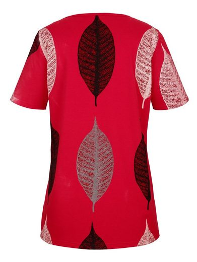 Miamoda Long Shirt Leaves Print-round Motives