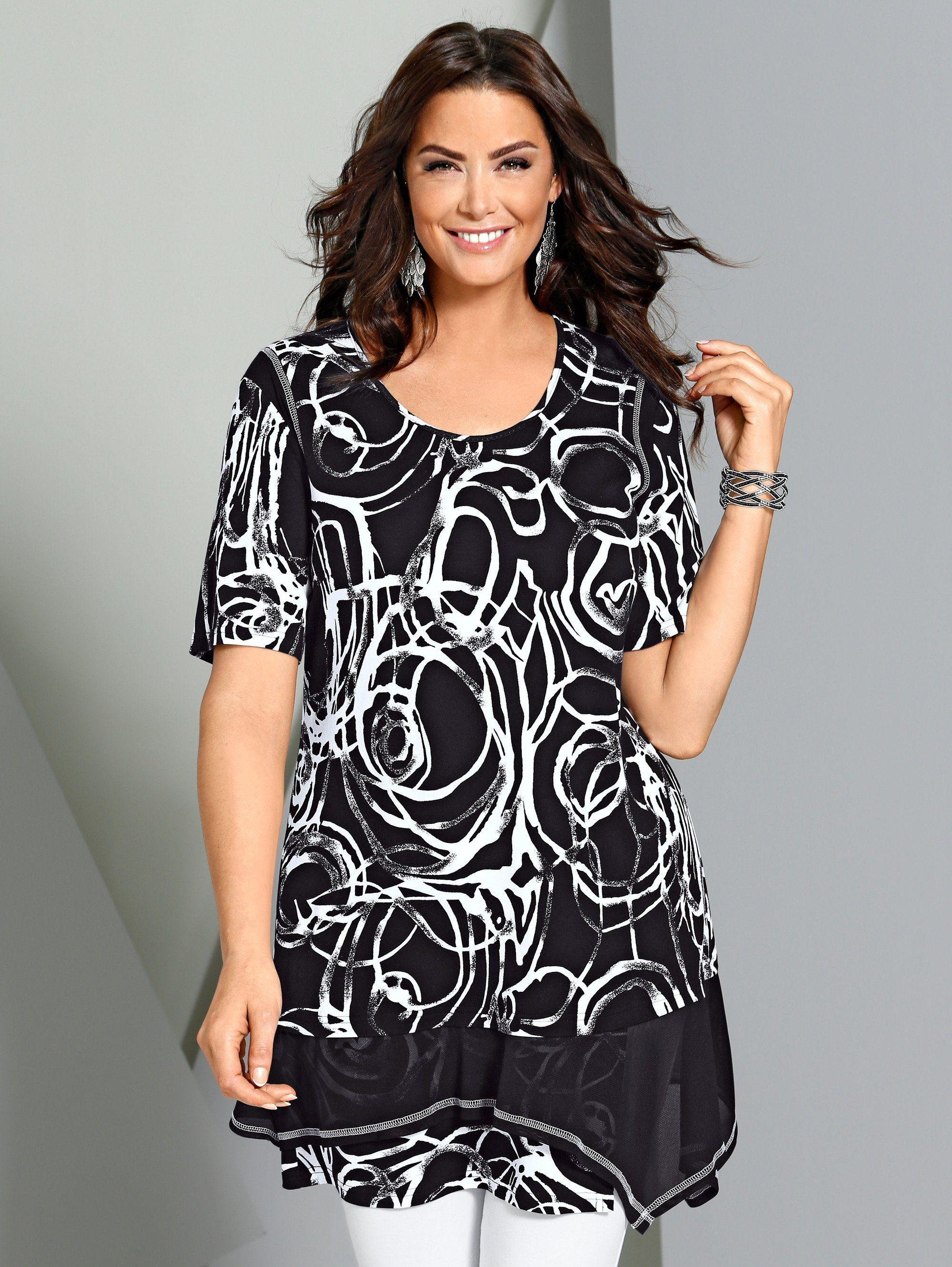 MIAMODA Longshirt in Zipfelform am Saum
