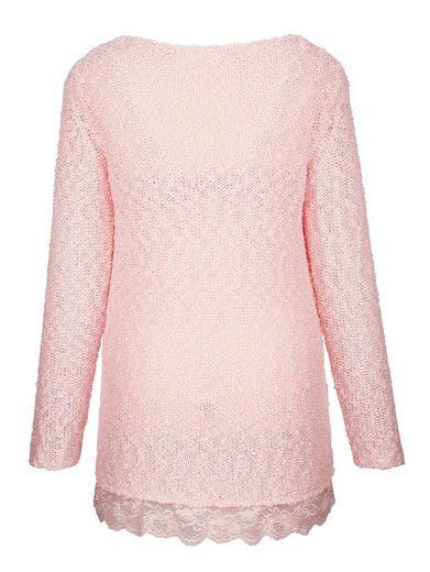 MIAMODA Pullover mit Spitzenbordüre am Saum
