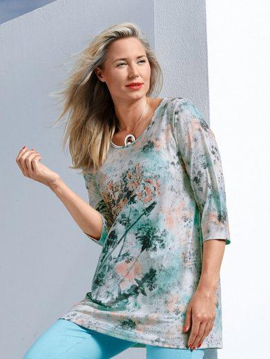 MIAMODA Longshirt mit pastellfarbenem Blumendruck