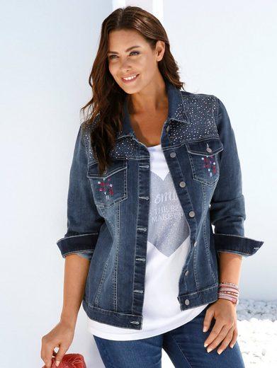 MIAMODA Jeansjacke mit Stickerei und Steinchen auf den Brusttaschen