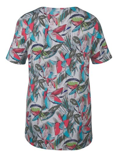 Miamoda Shirt With Colorful Leaves Print-pattern
