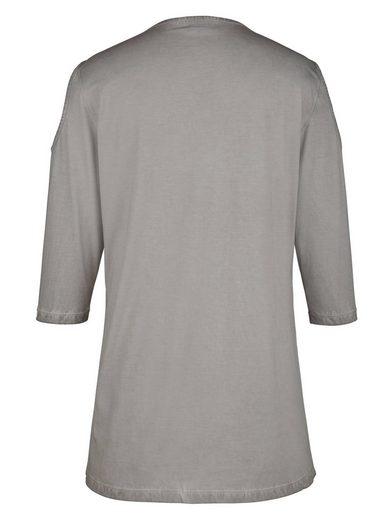 MIAMODA Longshirt mit angesagten Cut-Outs und Spitze