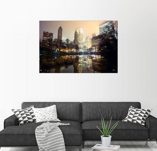 Posterlounge Wandbild »Central Park und New York City Skyline bei Nebel«