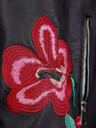 MIAMODA Kunstlederjacke mit Stickereien am Ärmel und am Rücken