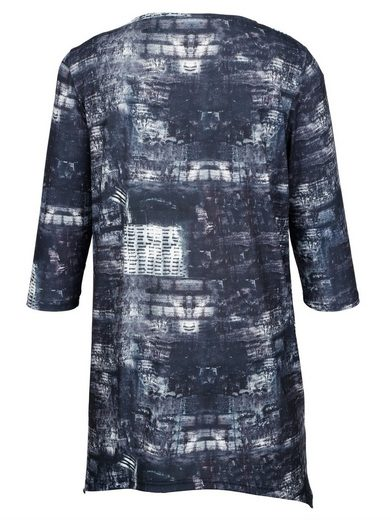 Miamoda Zipfel Shirt With Rhinestones