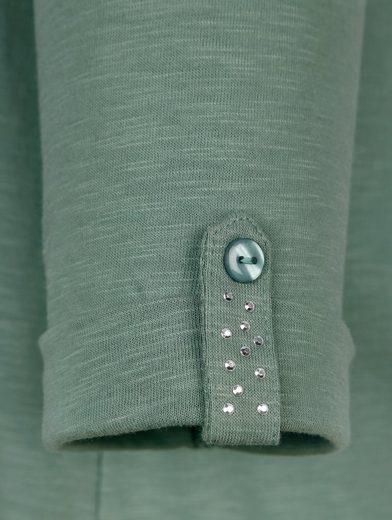 MIAMODA Longshirt mit Dekosteinen entlang des Ausschnitts