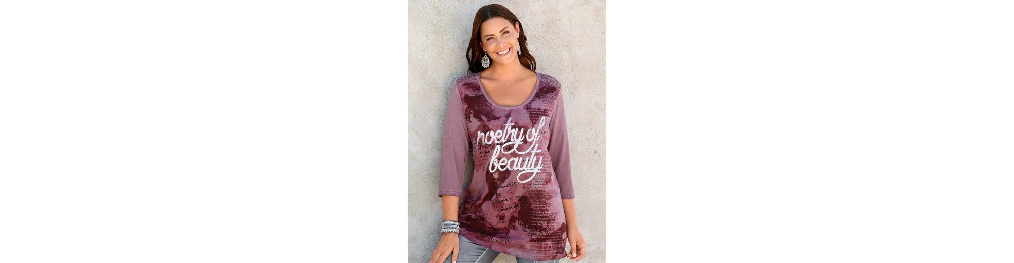 Outlet Online Bestellen Professionel MIAMODA Shirt mit glänzendem Foliendruck in Schriftzug-Form pAdCE