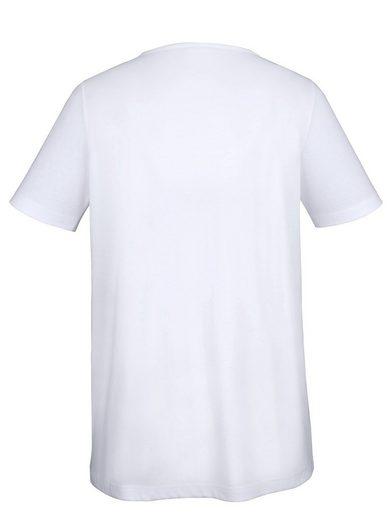 MIAMODA Longshirt mit Dekosteinen am Ausschnitt