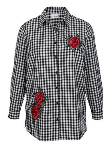 MIAMODA Bluse mit aufgestickten Rosenmotiven