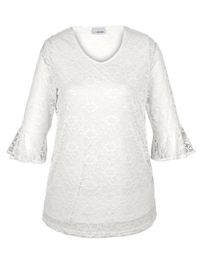 MIAMODA Spitzenshirt mit leicht transparenten Ärmeln