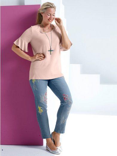 MIAMODA Jeans mit trendigen Stickereien