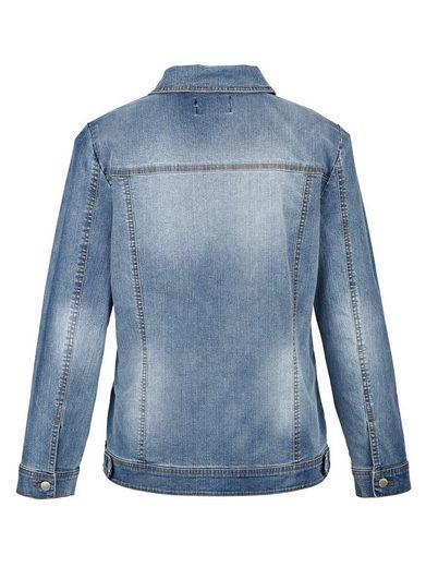 MIAMODA Jeansjacke mit Dekoperlen verziert
