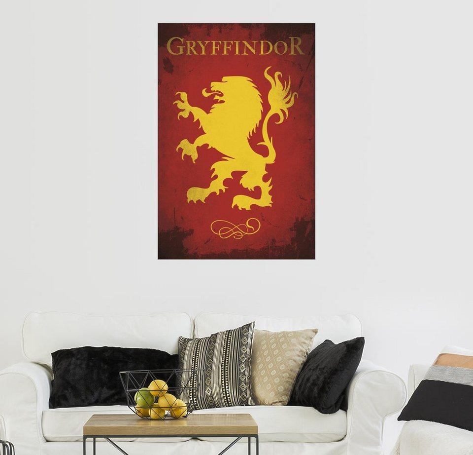 posterlounge wandbild golden planet prints gryffindor harry potter flag house emblem art. Black Bedroom Furniture Sets. Home Design Ideas
