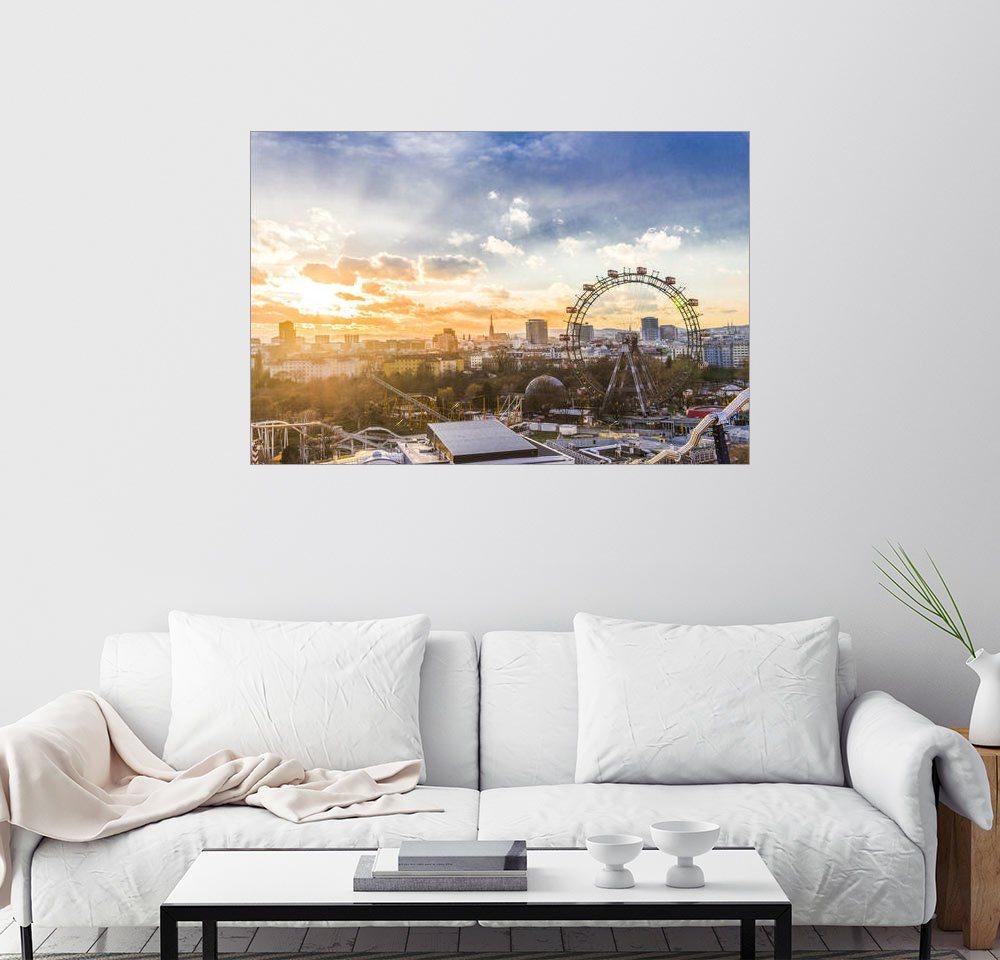 Posterlounge Wandbild - George Pachantouris »Sonnenuntergang über Wien« | Dekoration | Holz | Posterlounge