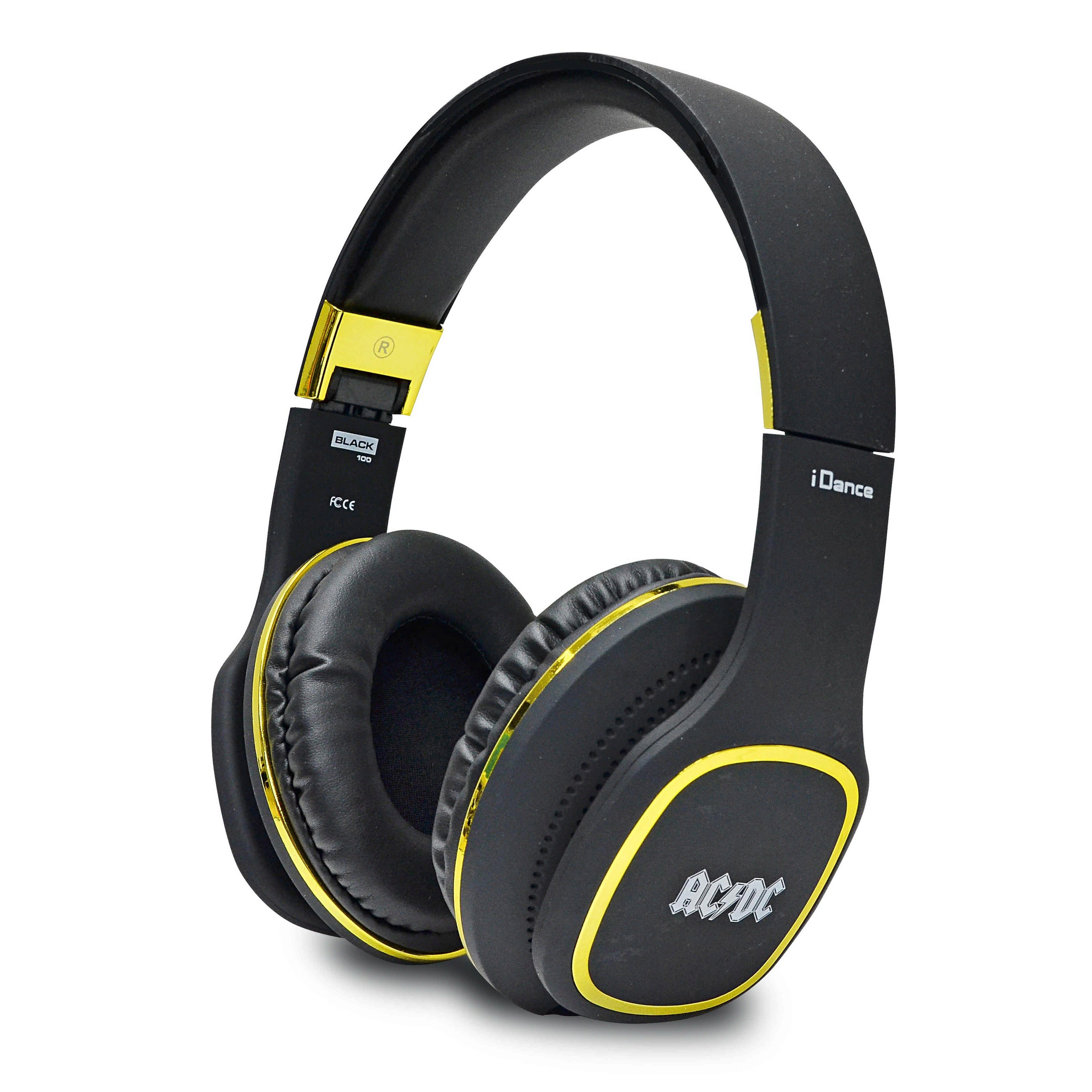 iDance Over Ear Kopfhörer mit abnehmbarem Kabel »ACDC Black 100 GD«