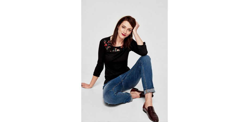 s.Oliver RED LABEL Jerseyshirt mit Embroidery Rabatte Für Verkauf FqhkA2aSXt
