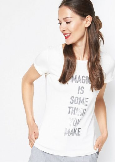 COMMA Kurzarmshirt mit Statement-Print