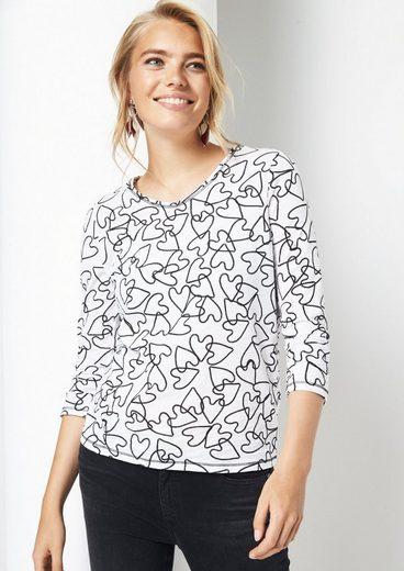 COMMA 3/4-Arm Jerseyshirt mit liebevoll gestaltetem Alloverprint