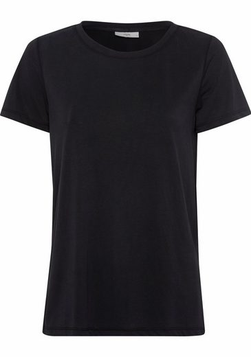 minimum T-Shirt Rynah, aus weich fließendem Material in Seidenoptik