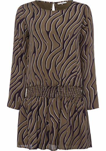 minimum Blusenkleid Alysia, aus Crêpematerial mit Allovermuster und gesmoktem Hüftband