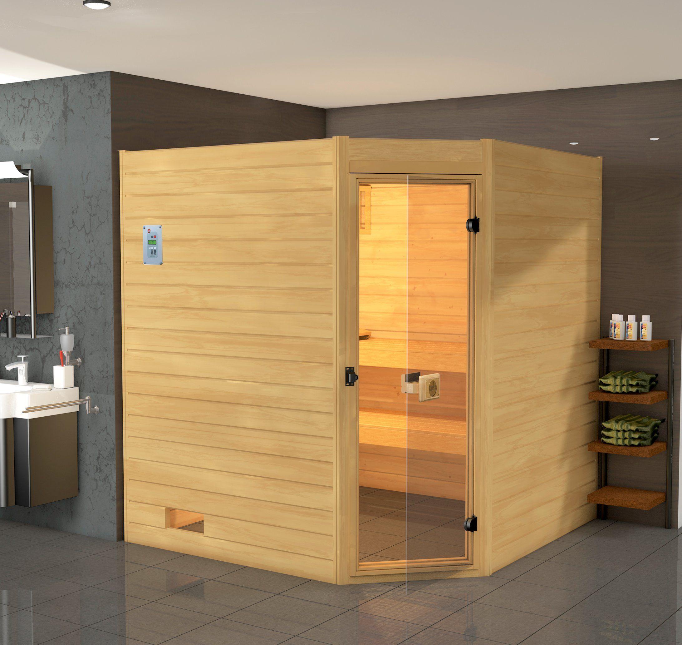 WEKA Sauna »Vaasa 3«, 237/187/203,5 cm, 38 mm, 7,5-KW-Kombiofen