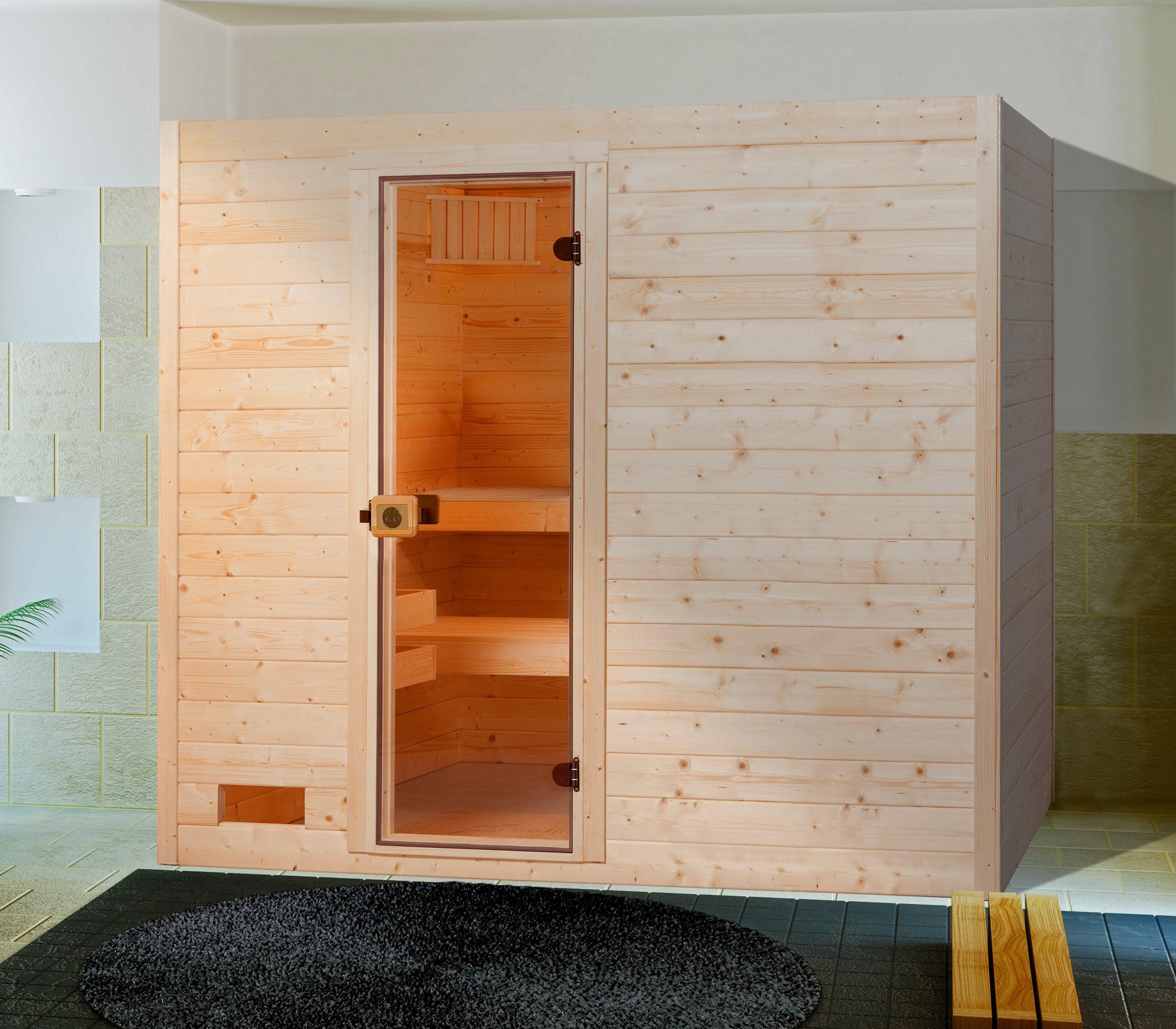 Weka Sauna »Lars Trend 2«, 187/187/203,5 cm, 38 mm, 7,5-KW-Kombiofen