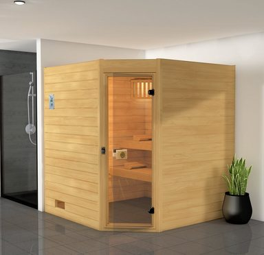 WEKA Sauna »Vaasa 2 Eck«, 189x172x204 cm, 7,5 kW Bio-Kombiofen mit ext. Steuerung