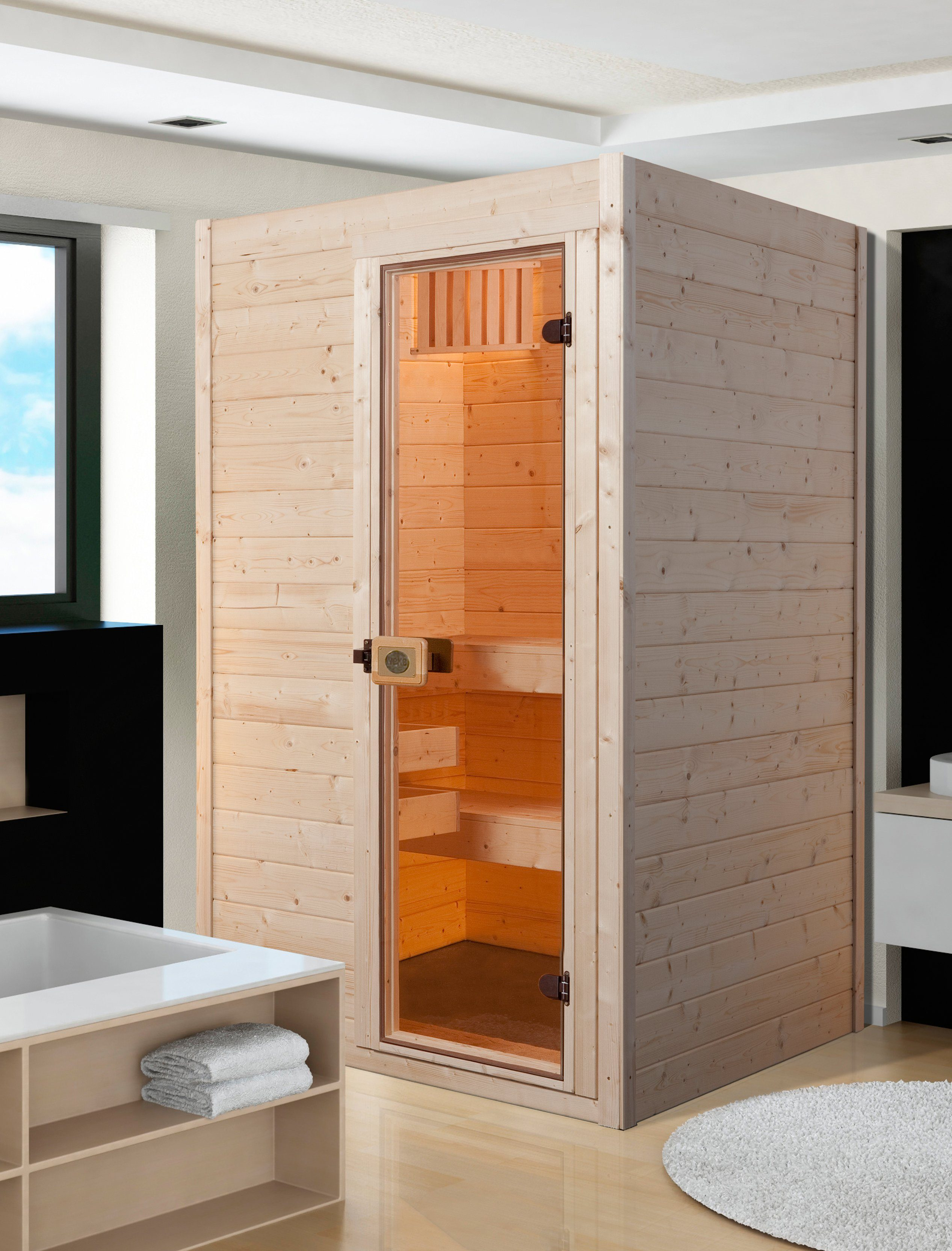 WEKA Sauna »Vaasa 1«, 137/137/203,5 cm, 38 mm, 4,5-KW-Kombiofen