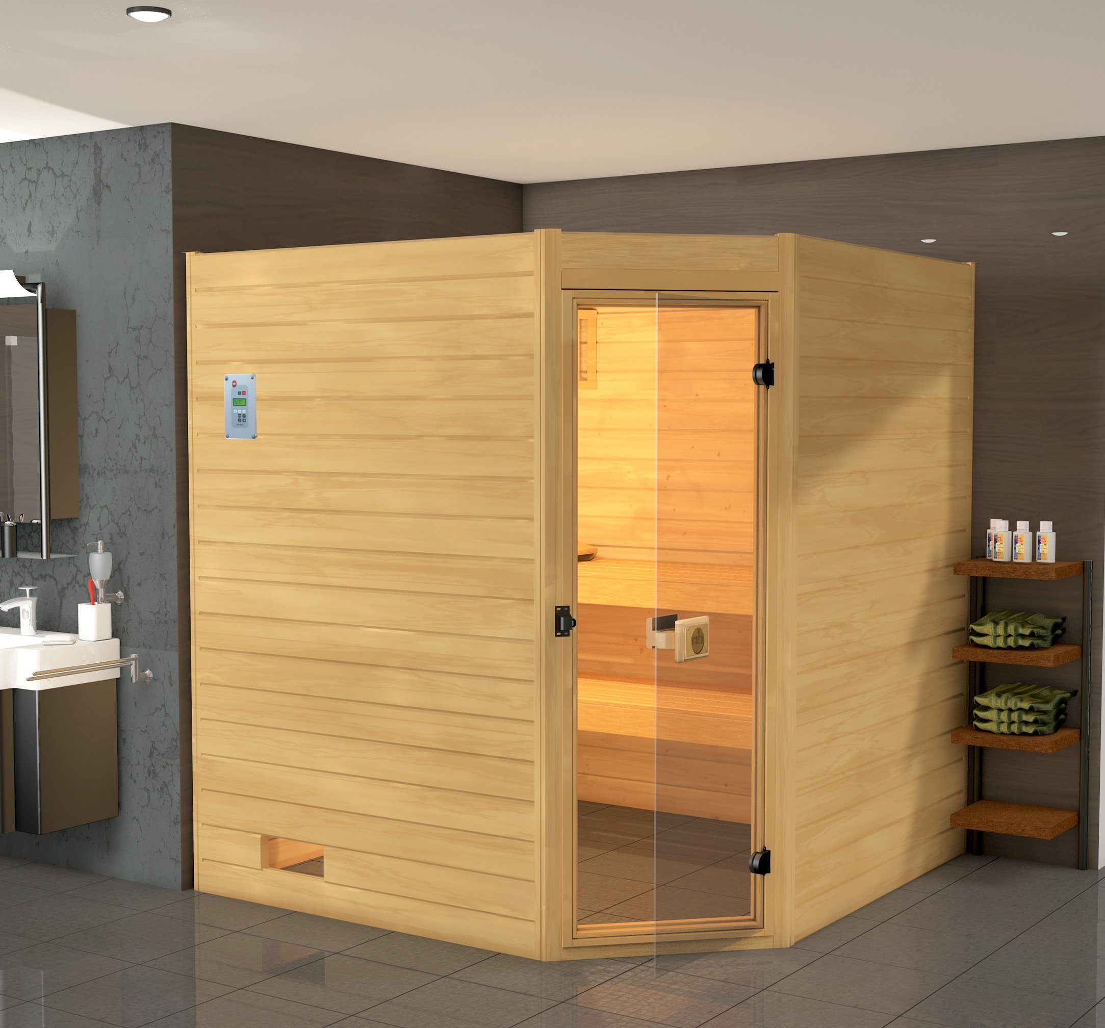WEKA Sauna »Vaasa 3«, 237/187/203,5 cm, 7,5-KW-Ofen mit ext. Steuerung