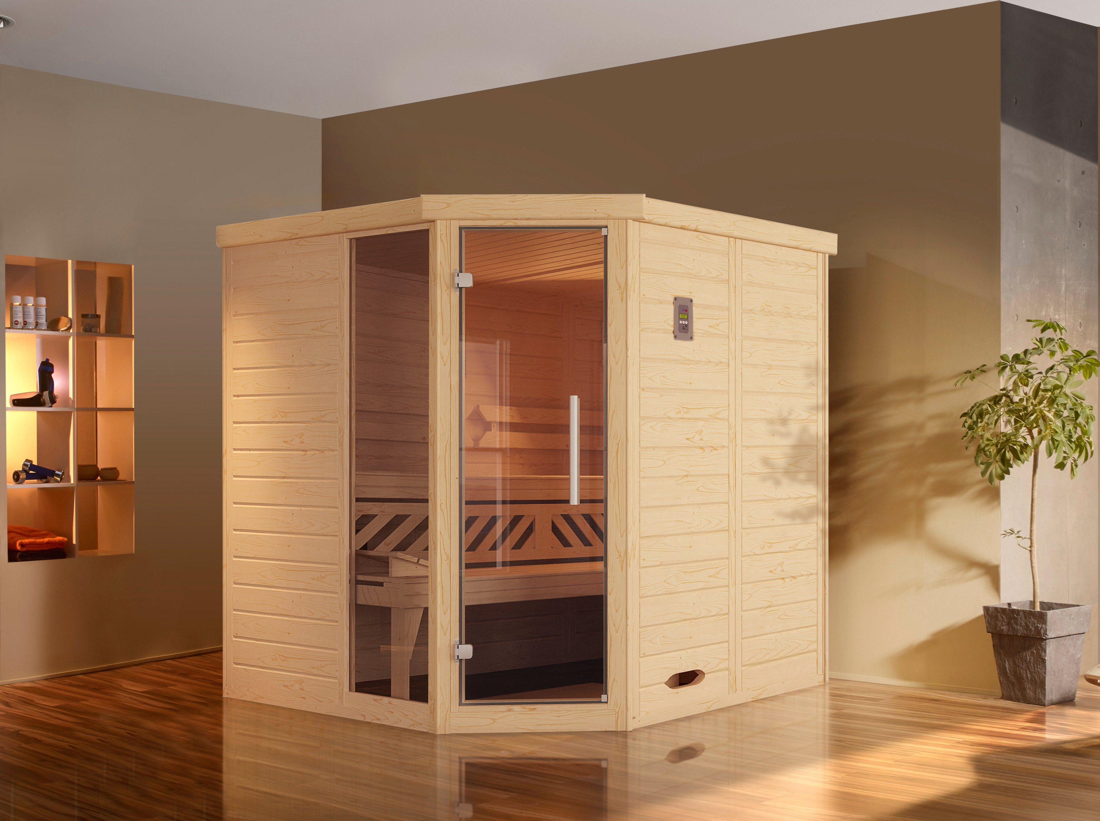 WEKA Sauna »Brevik 1«, 188/188/199 cm, 7,5-KW-Ofen mit ext. Steuerung
