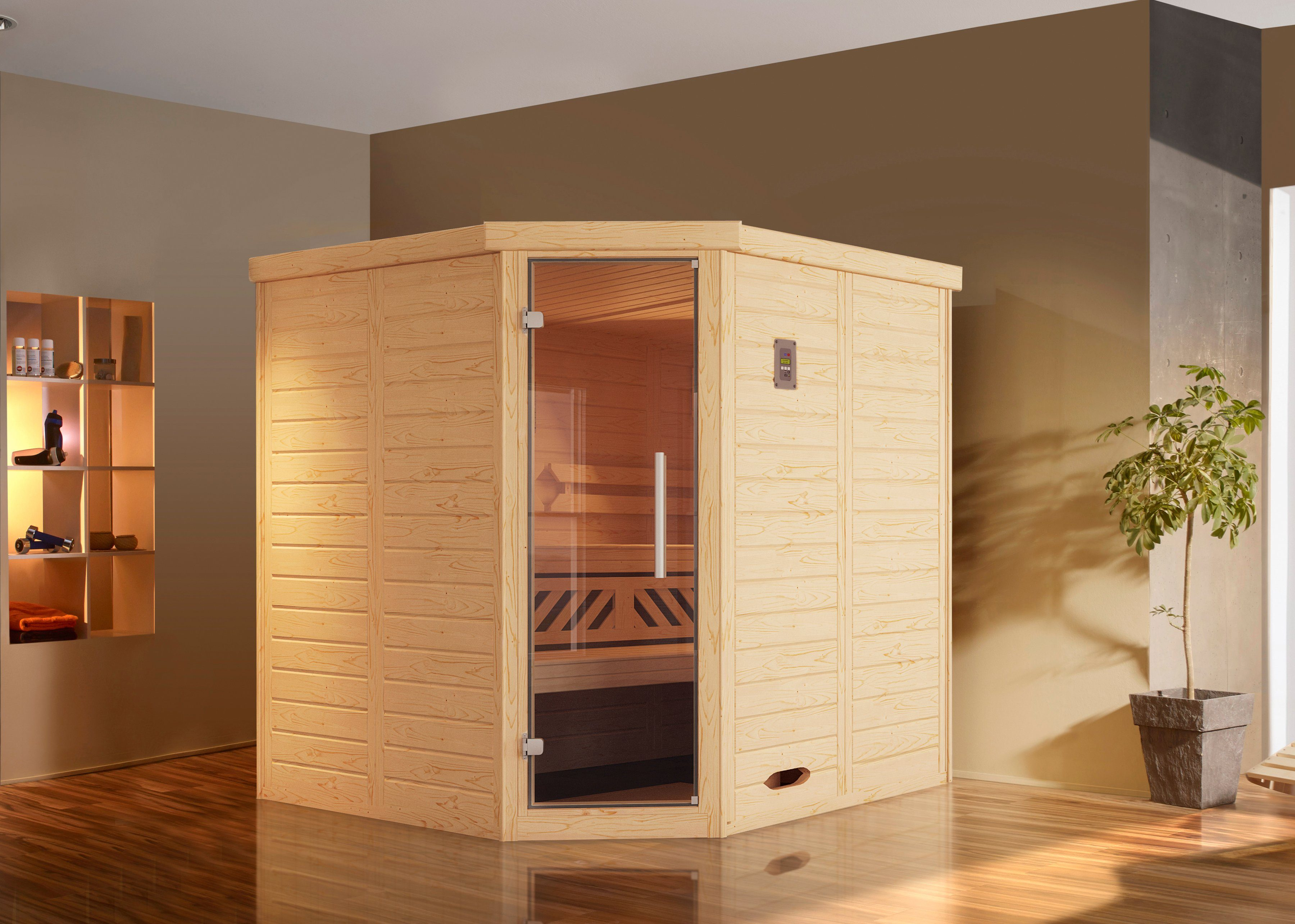 WEKA Sauna »Brevik 1«, 188x188x199 cm, 7,5-KW-Ofen mit ext. Steuerung