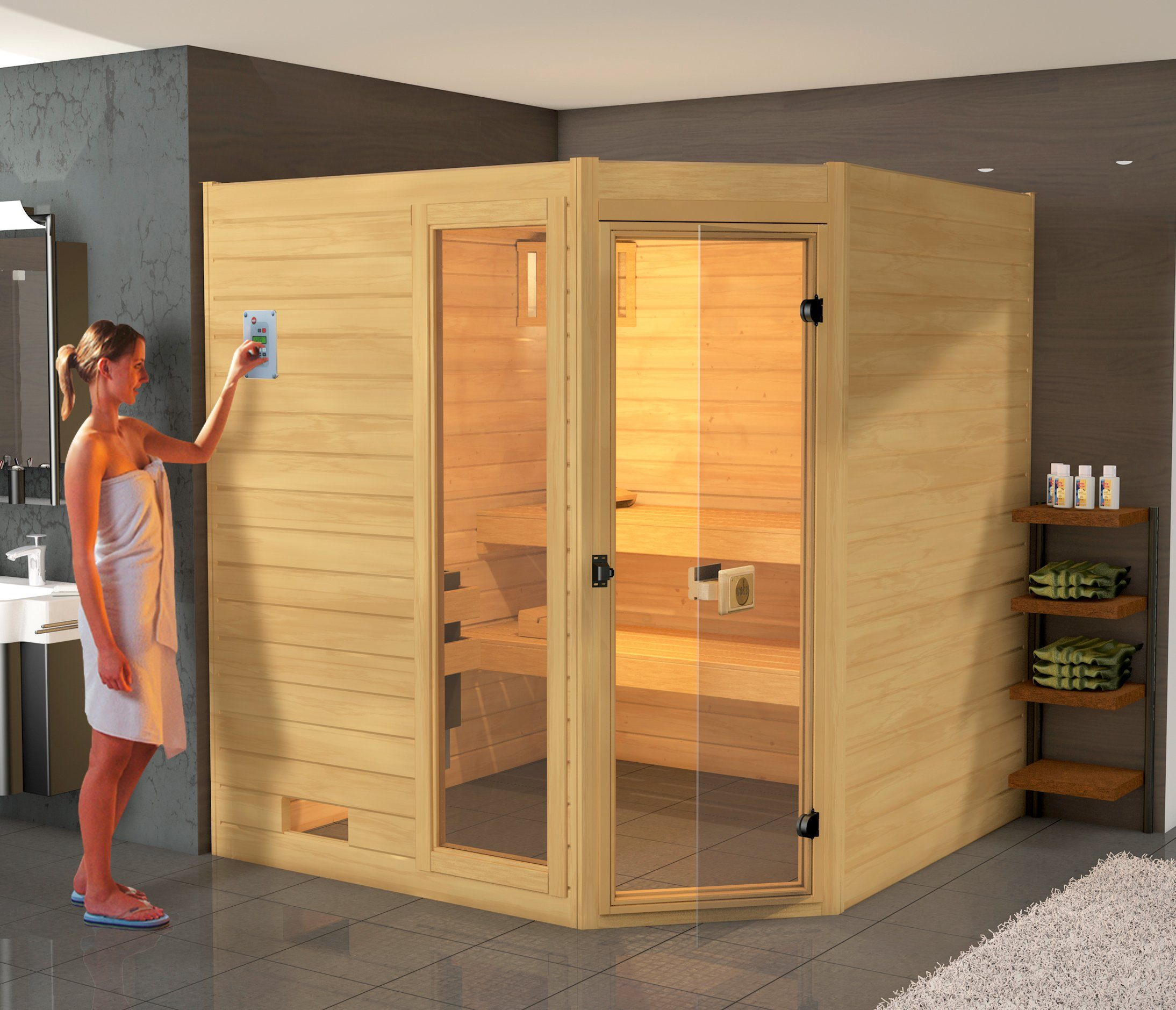 WEKA Sauna »Lars Eck 2«, 187x187x203,5 cm, 9-kW-Ofen mit int. Steuerung