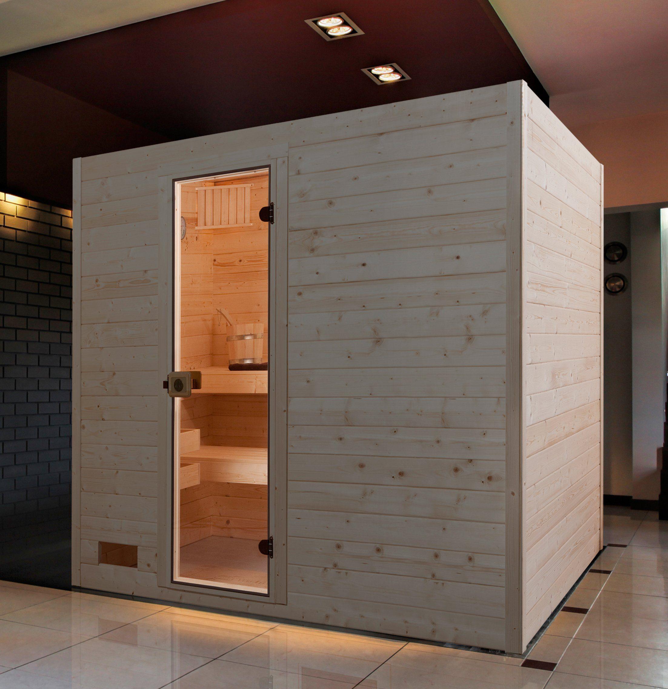 WEKA Sauna »Vaasa 3«, 239x189x204 cm, 7,5 kW Bio-Kombiofen mit ext. Steuerung
