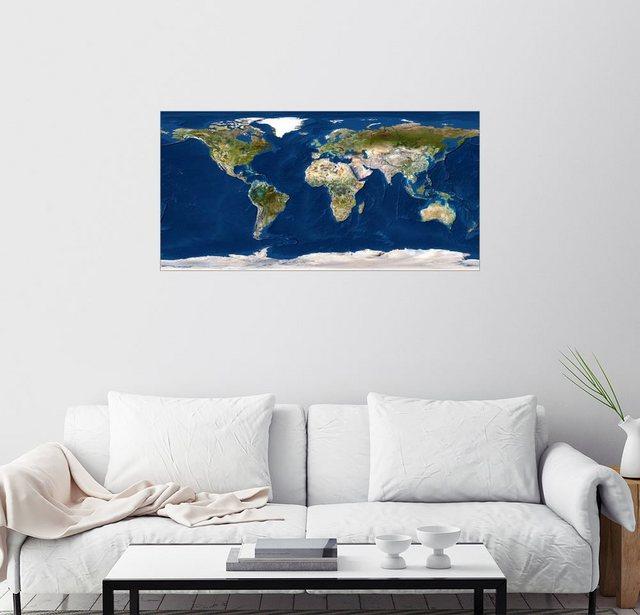 Posterlounge Wandbild Planetobserver Topographische Weltkarte