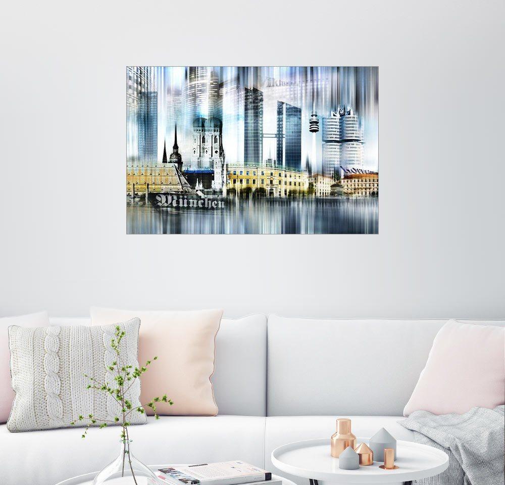 Posterlounge Wandbild - Städtecollagen »München Skyline Abstrakte Collage« | Dekoration > Bilder und Rahmen > Bilder | Holz | Posterlounge