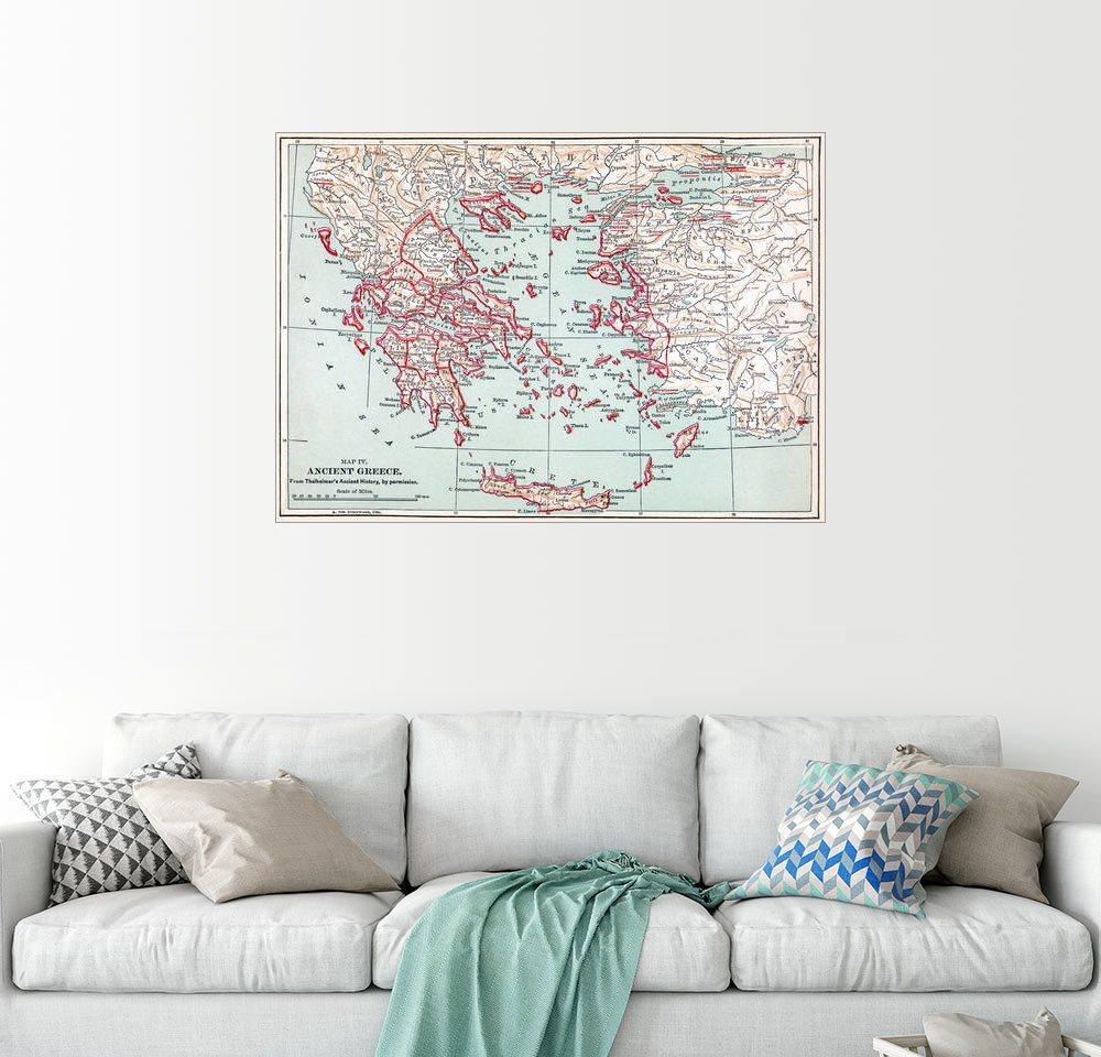 Posterlounge Wandbild »Karte: Antikes Griechenland« | Dekoration > Bilder und Rahmen > Bilder | Holz | Posterlounge