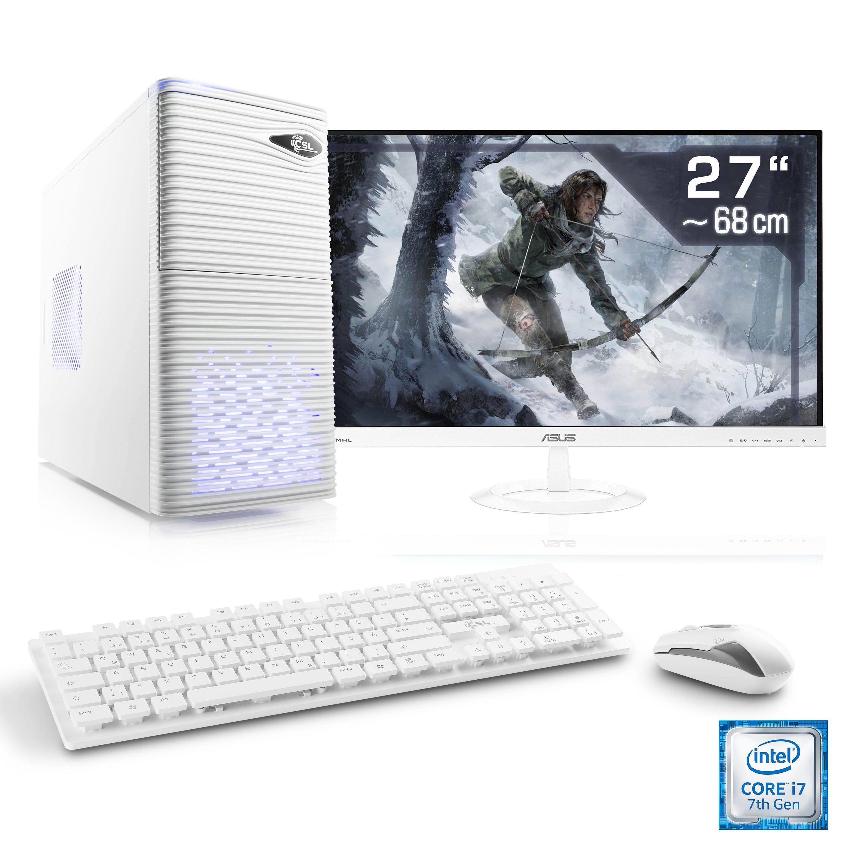 "CSL Gaming PC Set | i7-7700 | GTX 1050 Ti | 16GB RAM | SSD | 27"" TFT »Speed T9766 Windows 10 Home«"