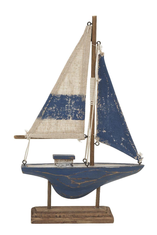 Holz-Segelschiff blau-creme
