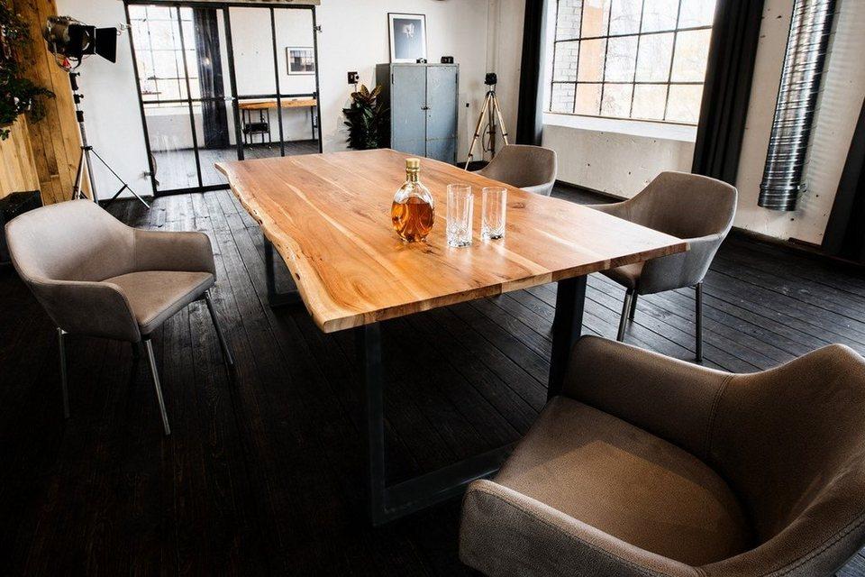 KAWOLA Esstisch aus massiver Akazie mit Baumkante Fuß schwarz »LORE« online  kaufen | OTTO