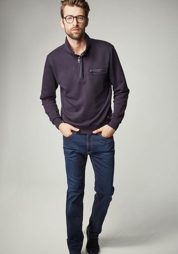 PIERRE CARDIN Sweatshirt in Piqué-Optik - Regular Fit