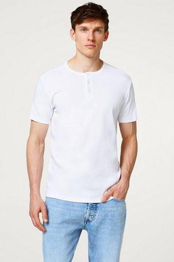 ESPRIT Basic Ripp-Shirt mit Henley-Ausschnitt