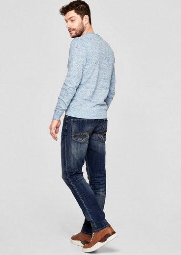 s.Oliver RED LABEL Tubx Regular: Used-Jeans mit Gürtel
